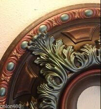 EARTHY TURQUOISE COPPER CHANDELIER PAINTED CEILING MEDALLION WALL HOME DECOR 19