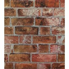 Red Orange Brick Wallpaper |Textured  Rust Bricks Stones DOUBLE ROLL | HE1046