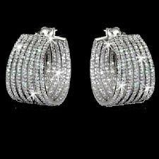 7-Row BLING Micro Pave Set Signity Cz Cubic Zirconia Wide Hoop Dangle Earrings