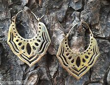 New Tribal Brass Hoop Earring Gold Vintage Gypsy Fashion Jewelry Women Handmade