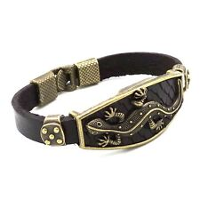 Punk fashion Brown Leather Bracelet Lizard Bangle PS96