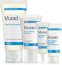 Murad Acne Starter Kit - Cleanser, Oil Control, Clearing Solution, Fast Fix -4pc