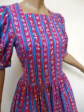 VINTAGE 80S LAURA ASHLEY DRESS QUIRKY PRINT 8  TO SMALL  10 UK S  50S LOOK