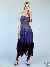 NWT Free People DIAPHANOUS DAMEL Maxi Party Dress blue black dip dye 2 RARE $450