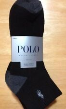 Polo Ralph Lauren 4-Pair Athletic Quarter Crew Socks Black w/Gray Trim    (6351)