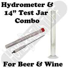 "14"" Test Jar + Triple Scale Hydrometer Home Brewing or Wine Making Distilling"