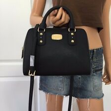 Michael Kors Saffiano Leather Small Satchel MK Signature Crossbody Purse Black