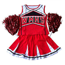 LADIES HIGH SCHOOL CHEERLEADER COSTUME + POM POMS ADULT CHEER LEADER UNIFORM PK