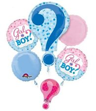 Baby Gender Reveal Boy or Girl 5pc Balloon Bouquet Party Shower Game He She ?