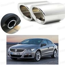 Car Exhaust Muffler Tip Tail Pipe Trim Silver for Volkswagen CC 2009-2016 #4030