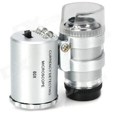 Mini 60X Pocket Microscope Hydroponic Garden Plant Bud Pest Magnifier LED Light