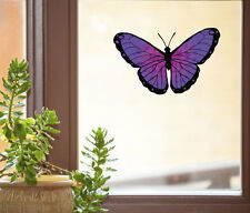 """CLR:WND - Butterfly D1- See-Through Vinyl Window Decal ©YYDC (MED 6""""w x 3.75""""h)"""