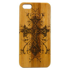 Celtic Cross Case for iPhone 6 6S Bamboo Wood Cover Religious Irish Catholic God