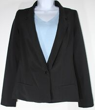R-212 BCBG one button jacket, black cotton Petite PXS w/extended cuts on back