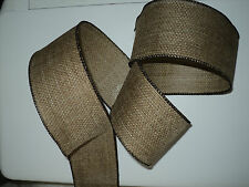 Brown Linen Kraft Burlap Wide Rustic Decorative Wired Ribbon 3 for 2 OFFER