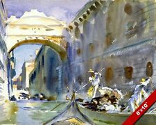 THE BRIDGE OF SIGHS VENICE ITALY WATER COLOR PAINTING ART PRINT ON REAL CANVAS