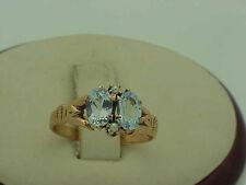 Victorian 10K Gold Genuine Aquamarines & Pearl Ring, late 1800s