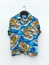 VINTAGE SUN SURF TOYO TIGER ROAR FLORAL ASIAN HAWAIIAN RAYON BUTTON FRONT SHIRT