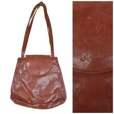 VINTAGE 1970's 80's Brown Leather Shoulder Bag Handbag Tote Shopper Boho Retro