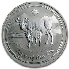 2009 Perth Mint Lunar Year Ox 2 oz .999 Fine Silver Coin