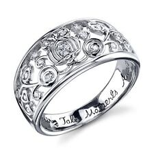 STERLING SILVER GENUINE NATURAL DIAMOND DISNEY CINDERELLA CARRIAGE COACH RING 8