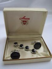 Anson Cufflinks & Studs, Round, Silver-Tone and Onyx, New Old Stock