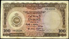 CEYLON SRI LANKA 100 Rupees 24/10/1956 P-61 VG circulated banknote