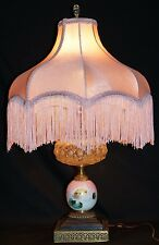 GONE WITH THE WIND Vanity Lamp Painted, Clear Globes Brass Base Pink Cloth Shade