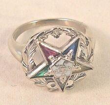 14K White Gold Masonic Eastern Star Ladies Vintage ring Enamel 3.4gr Sizable 4