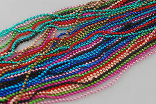 Free Ship 50chains mix colour metal bead ball necklace 27""