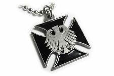Germany German IRON CROSS Eagle Military Army Pendant Necklace w/ball chain