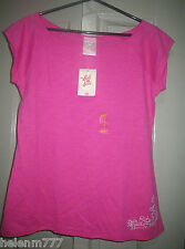 Belle of The Beach 16 Pink Crop Sleeve Soft Cotton Poly Boatneck Tee T Shirt
