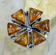 Baltic Orange Amber Gemstone Pure 925 Sterling Silver Rings Size: 7.5 B18616