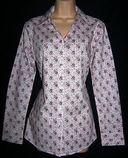 LAURA ASHLEY WHITE PINK & GARNET DITSY FLORAL SEMI-FITTED SHIRT 14 UK BNWT