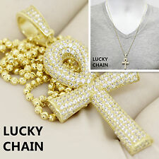 """925 STERLING SILVER ICED OUT GOLD ANKH CROSS PENDANT 24""""MOON CUT CHAIN 14g R598"""