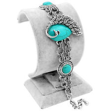 Double Chain Peacock Turquoise Bracelet Bangle Vintage Look Personality Jewelry