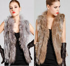 Real Casual Knitted Rabbit Fur Waistcoat/Vest/Gilet with Raccoon Collar Tassel