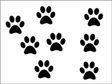 New 10 x small pet paw prints vinyl stickers  decal 6cm x 6cm 18 colour choice
