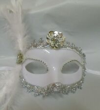 Venetian Face Masquerade Mask - White with Silver Trim - Express Post Option