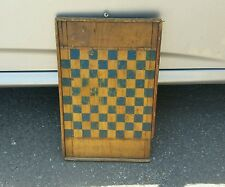Antique Game Board Checkerboard  Folk Art primitive quebec canada