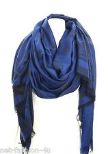 ALEXANDER McQUEEN BIG SKULL ALLOVER PASHMINA VERY LARGE BLUE AND NAVY