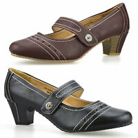Ladies Womens Mid Low Heel Leather Comfort Work Pumps Mary Jane Court Shoe Size