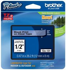 "Brother 1/2"" (12mm) Black on Clear P-touch Tape for PT2100, PT-2100 Label Maker"