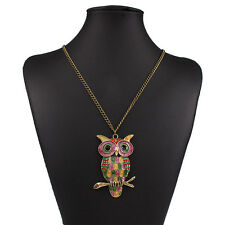 New Lovely Women Lady Vintage Rhinestone Owl Pendant Long Chain Necklace Jewelry
