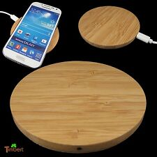 QI WIRELESS CHARGER PAD Ladegerät Rund HOLZ Kabelloses Laden Samsung iPhone Sony