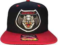 Airwolf Air Wolf Hat Black and Red Ball Cap Flat Brim OG SNAPBACK