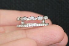 New 10K S67 Double Row 1/4ct Diamond Milgrain Solitaire Enhancer Ring Guard Wrap