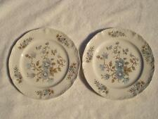 Blossomtime Blue Floral 2 Salad Plates 7.75 inch Staffordshire England Ironstone