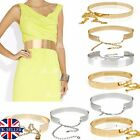 UK Women Hot Full Metal Waist Mirror Wide Plate Chains Waistband Metallic Belt