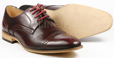Men's Pre-Owned Burgundy Red Perforated Cap Toe Lace Up Oxford Dress Shoes 12 us